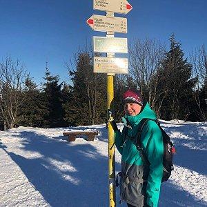 Hana Lančová na vrcholu Smrk (8.1.2020)