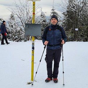 Jiří Gryz na vrcholu Smrk (3.1.2021 10:07)