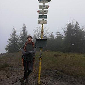 Tomáš Vašíček na vrcholu Smrk (1.11.2020 10:40)