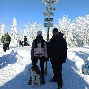 Markéta Čeníková na vrcholu Smrk (17.1.2021 11:45)