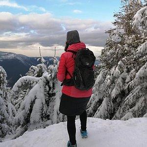 Veronika Spáčilová na vrcholu Smrk (3.1.2021 14:00)