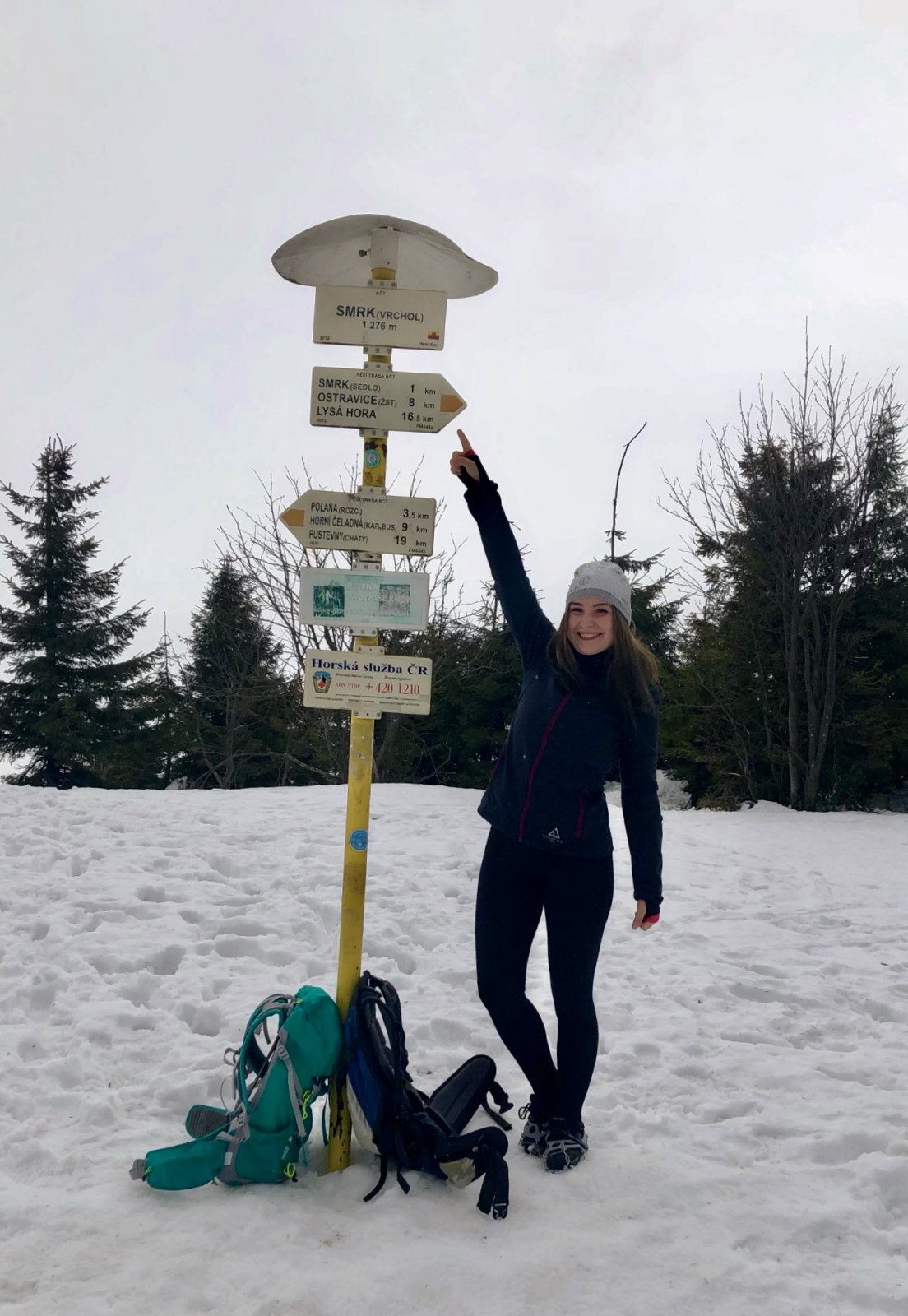 Nicole na vrcholu Smrk (3.2.2019)