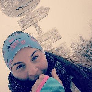 Paula Siudová na vrcholu Smrk (12.2.2019 13:54)