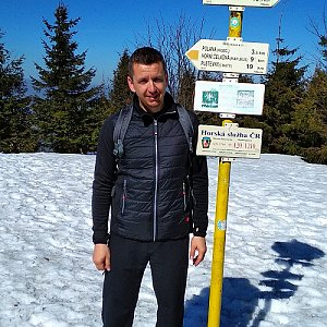 PeteBukař na vrcholu Smrk (23.3.2019 12:25)