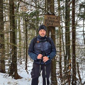 Jiří Gryz na vrcholu Velká Stolová (2.1.2021 11:06)