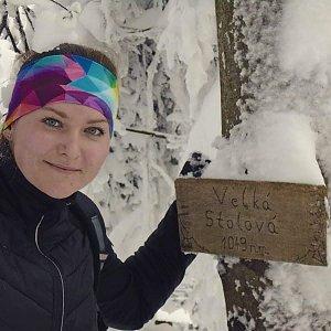 Adélečka na vrcholu Velká Stolová (20.1.2019)