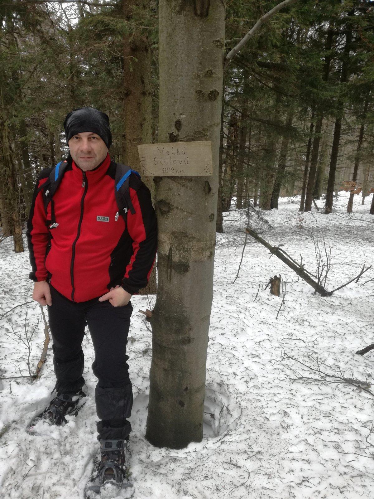 Jiří P na vrcholu Velká Stolová (3.2.2019 12:33)