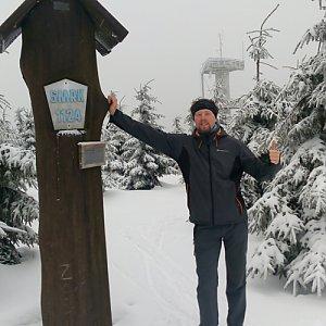 Petr Papcun na vrcholu Smrk (3.2.2018 13:48)