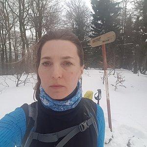 Marcela Kubíčková na vrcholu Ostrý (22.2.2020 16:13)