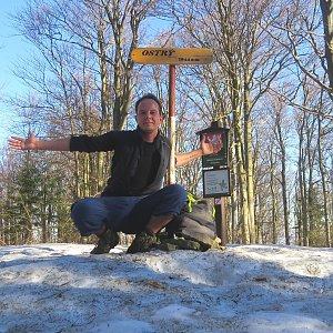 Jan Rendl na vrcholu Ostrý (23.3.2019 8:07)