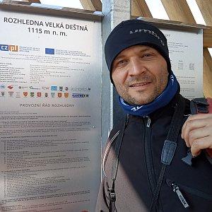 Martin Šíma na vrcholu Velká Deštná (13.4.2020 12:00)