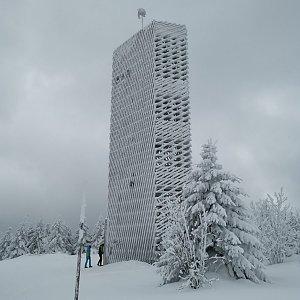 Martin Horáček na vrcholu Velká Deštná (12.2.2021 12:59)