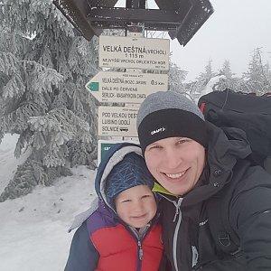 michal čech na vrcholu Velká Deštná (20.2.2019 12:00)