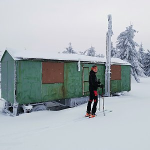 Ondra Horáček na vrcholu Koruna (10.2.2021 16:50)