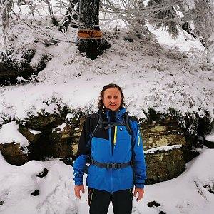Tom Vachala na vrcholu Skalka (na Pustevnách) (9.1.2021 11:00)