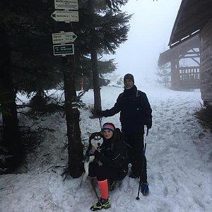 Nikol Podesvova na vrcholu Medvědí hora (23.1.2021 16:00)