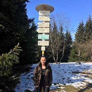 Veronika Pastorková na vrcholu Javorový vrch (30.3.2018)