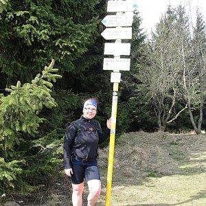 Martina na vrcholu Javorový vrch (8.4.2018)