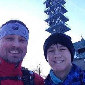 Igor Gluza na vrcholu Javorový vrch (3.1.2020 16:13)