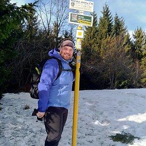 Jakub Špaček na vrcholu Javorový vrch (17.1.2020 11:21)