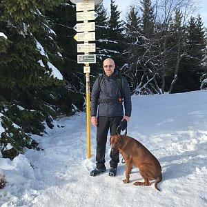 Karin Satoriová na vrcholu Javorový vrch (2.1.2020 11:30)