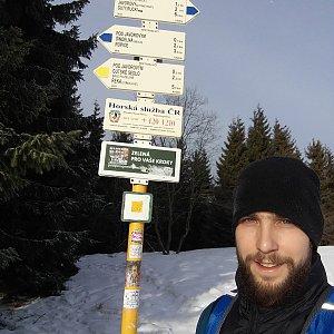 Filip Šimon na vrcholu Javorový vrch (30.1.2020 9:37)