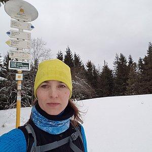 Marcela Kubíčková na vrcholu Javorový vrch (22.2.2020 10:26)