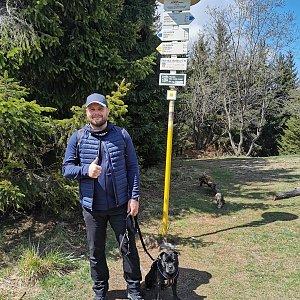 Tomáš Mucha na vrcholu Javorový vrch (2.5.2020 12:30)