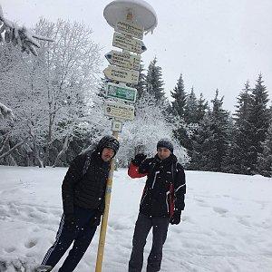 Vojtěch Horák na vrcholu Javorový vrch (24.2.2018)