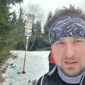 Igor Gluza na vrcholu Javorový vrch (3.1.2021 12:51)