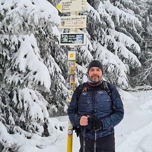 Jiří Gryz na vrcholu Javorový vrch (16.1.2021 10:39)