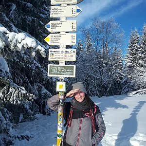 Aneta Gabzdylová na vrcholu Javorový vrch (31.1.2021 8:40)