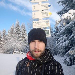 Filip Šimon na vrcholu Javorový vrch (31.1.2021 9:11)