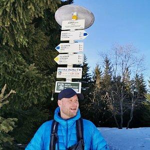Tomáš Mucha na vrcholu Javorový vrch (21.2.2021 13:00)