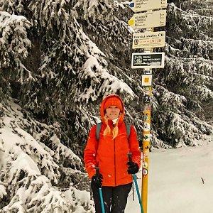 Jiřka Niedobová na vrcholu Javorový vrch (18.3.2021 14:00)