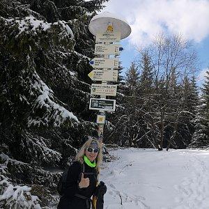 Jana Hrouzková na vrcholu Javorový vrch (4.4.2021 15:18)