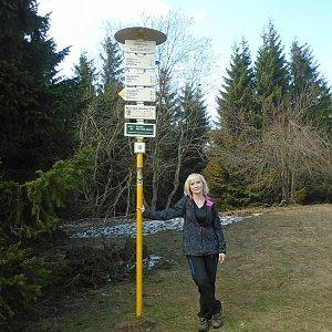 Ilona Mušálková na vrcholu Javorový vrch (7.4.2019 14:20)