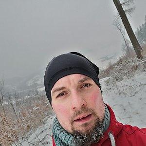 Jan Zamarski na vrcholu Babí hora (7.2.2021 10:00)