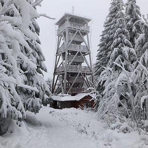 Šárka Foglová na vrcholu Vrchmezí (10.1.2021 10:00)