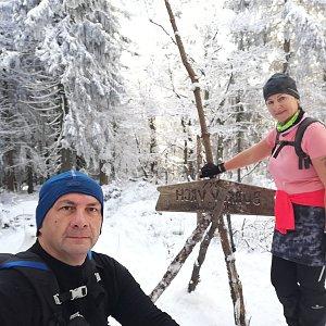 Dana + jirka na vrcholu Burkův vrch / Burkov vrch (10.1.2021 10:42)