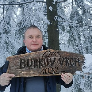 Michael na vrcholu Burkův vrch / Burkov vrch (19.2.2021 16:35)