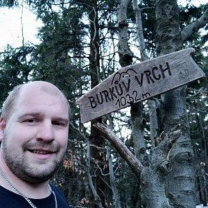 Petr Petrik na vrcholu Burkův vrch / Burkov vrch (3.3.2021 17:30)