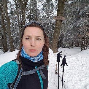 Marcela Kubíčková na vrcholu Burkův vrch (15.2.2020 12:31)