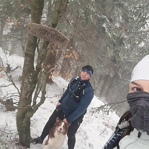 Markéta Čeníková na vrcholu Burkův vrch (27.2.2021 13:00)