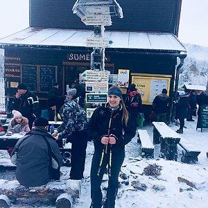Monča Čaganová na vrcholu Pustevny (13.1.2018 12:05)