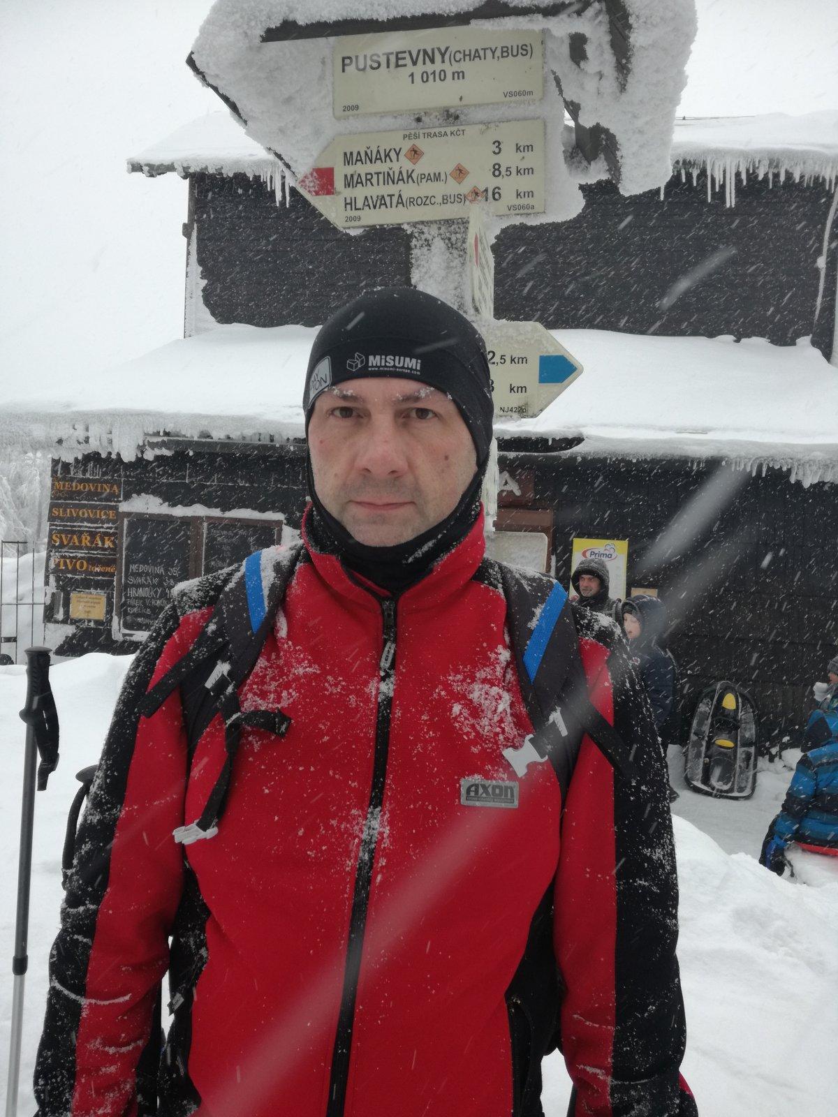 Jiří P na vrcholu Pustevny (26.1.2019 12:24)