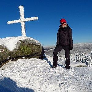Iveta Válová na vrcholu Holubník (31.1.2021 15:10)