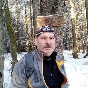 Lojza Žáček na vrcholu Smrčina (28.2.2021 14:46)
