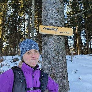 Monika na vrcholu Čuboňov (25.1.2020 14:00)