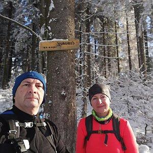 Dana + jirka na vrcholu Čuboňov (10.1.2021 11:50)